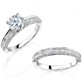 14k White Gold Pave Bezel Channel Diamond Bridal Set NK12111WE-W