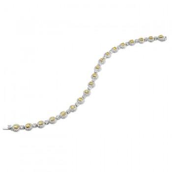 18k White and Yellow Gold Golden Round Diamond Bracelet - NK12115-WY