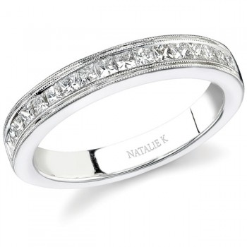 14k White Gold Channel Princess Cut Diamond Band - NK12599WED-W