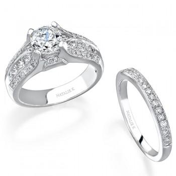 14k White Gold Pave Channel Princess Cut Diamond Bridal Set - NK12604WE-W