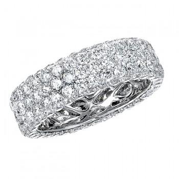 14k White Gold Three Row Pave Diamond Eternity Band - NK13381-W