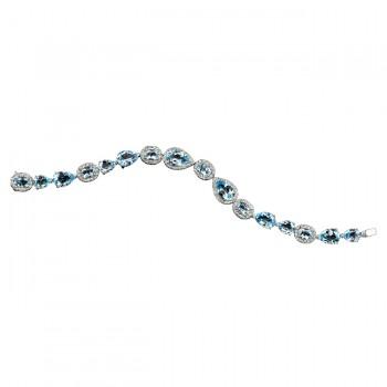 18k White Gold Blue Topaz Diamond Bracelet - NK13426BTPZ-W