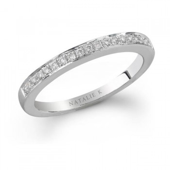 14k White Gold Pave Round Diamond Band