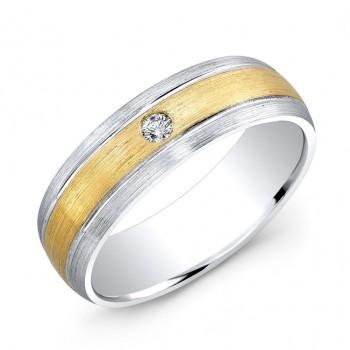 14k White and Yellow Gold Bezel Set White Diamond Wedding Band