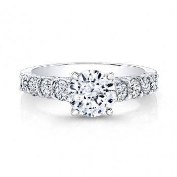 14k White Gold Prong and Bezel Set Round Diamond Engagement Ring