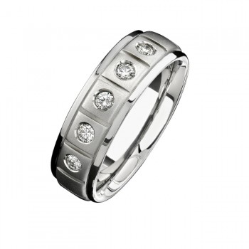 14k White Gold Five Stone Matte Finish Diamond Men's Band - NK15386-W