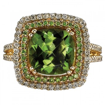 14k Yellow Gold Peridot and Golden Diamond Ring NK16454P-Y