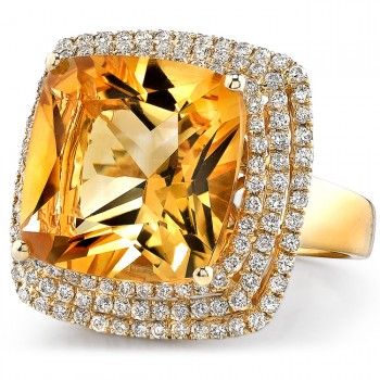 14k Yellow Gold Citrine and Diamond Cocktail Ring NK16716CT-Y