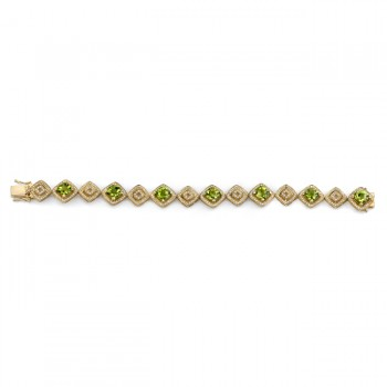 14k Yellow Gold Peridot Diamond Bracelet - NK16830P-Y