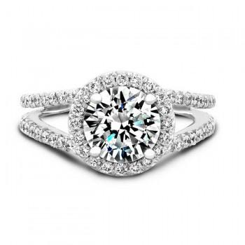 14k White Gold Pave Halo Split Shank Diamond Engagement Ring NK17054-W