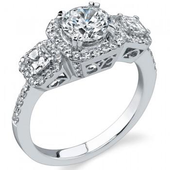 14k White Gold Asscher Cut Three Stone Engagement Ring NK17087-W