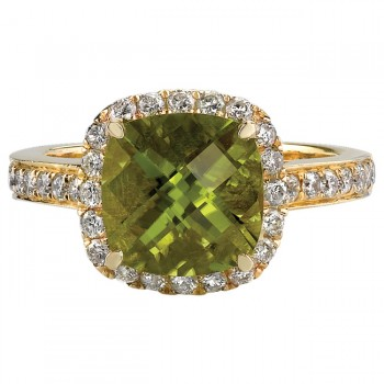 14k Yellow Gold Peridot Halo Diamond Ring NK17184P-Y
