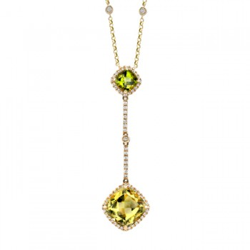 14k Yellow Gold Lemon Quartz and Peridot Diamond Drop Necklace NK17212PLQ-Y