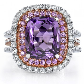 14k White and Rose Gold Pink Sapphire Amethyst Diamond Ladies Band - NK17214AM-WR