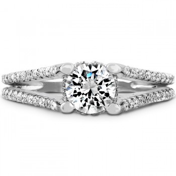 18k White Gold Raised Shank Diamond Engagement Semi Mount Ring