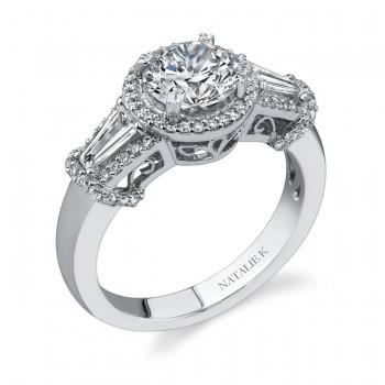 18k White Gold Three Stone Diamond Engagement Ring NK17889-W