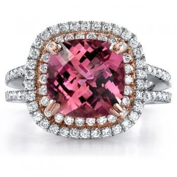 14k White and Rose Gold Pink Tourmaline Ladies Diamond Ring - NK18056PNKT-WR