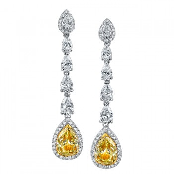 18k White and Yellow Gold Fancy Yellow Pear Shaped Diamond Earrings - NK18114FY-WY
