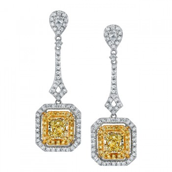 18k White and Yellow Gold Radiant Fancy Yellow Diamond Earrings - NK18235FY-WY