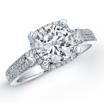 14k White Gold Three Stone Princess Cut Halo Diamond Engagement Semi Mount Ring NK18347-W