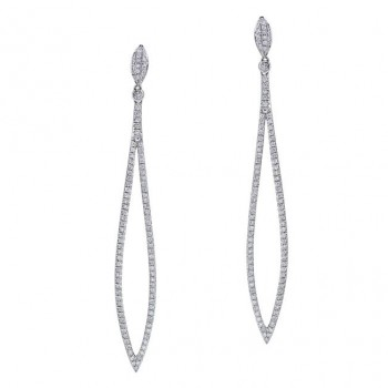 18k White Gold Round Diamond Ellipse Earrings - NK18562W