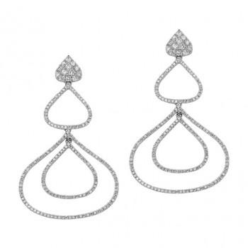 18k White Gold Pave Diamond Drop Earrings - NK19126W