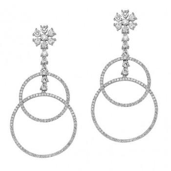 18k White Gold Cascading Hoop Diamond Earrings - NK19130W