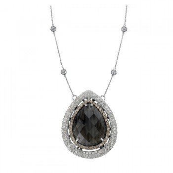 14k White Gold Smokey Quartz Pave Brown Diamond Necklace NK19298SQ-W
