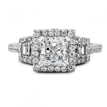18k White Gold Three Stone Trapezoid Diamond Bridal Ring Set NK19455WE-W