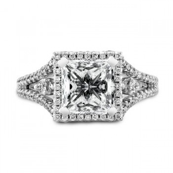 18k White Gold Diamond Halo Split Shank Engagement Ring NK19471-W