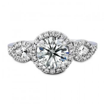18k White Gold Three Stone Halo Diamond Bridal Ring Set NK19485WE-W