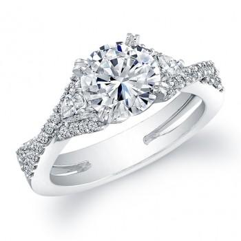 18k White Gold Three Stone Pear Shaped Diamond Semi Engagement Ring NK19513-W