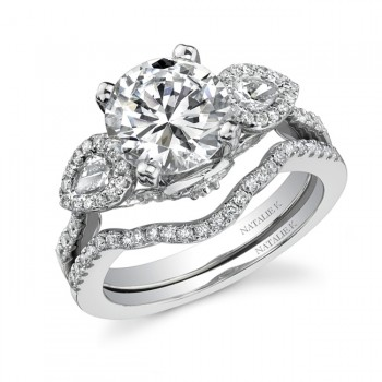 14k White Gold Three Stone Pear Shaped Diamond Bridal Ring Set NK19535WE-W