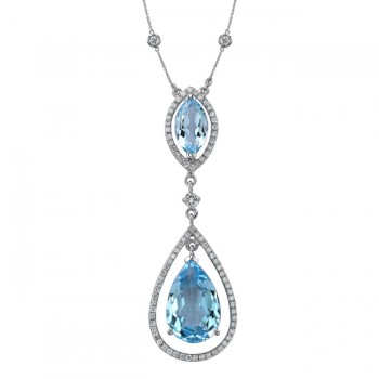18k White Gold Blue Topaz Diamond Drop Necklace NK19983BTPZ-W
