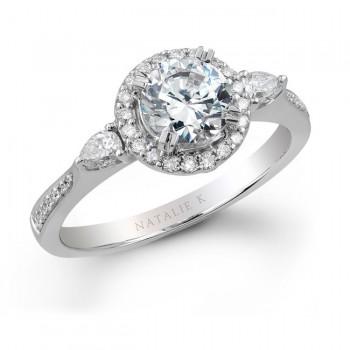 18k White Gold Pear Shaped Side Stone Diamond Halo Engagement Ring