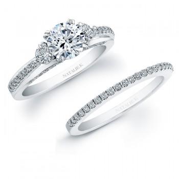 14k White Gold Micro Prong Diamond Bridal Ring Set NK20401WE-W