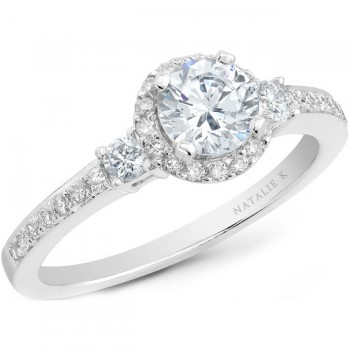 18k White Gold Three Stone Micro Pave Diamond Halo Engagement Semi NK20513ENG-W