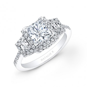 14k White Gold Princess Cut Diamond Engagement Ring with Trapezoid Side Stones NK20623-W