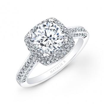 14k White Gold Pave Halo Diamond Engagement Ring
