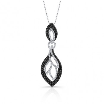 14k White and Black Gold Black and White Diamond Pendant