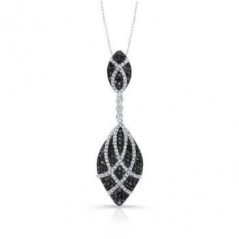 14k White and Black Gold Pave Black and White Diamond Fashion Pendant NK25165BW-WB
