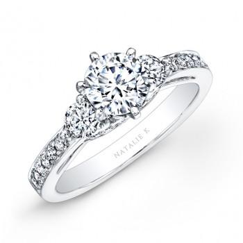 18k White Gold Pave Prong Three Stone Diamond Engagement Ring