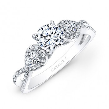 18k White Gold White Diamond Twisted Shank Engagement Ring with Pear Shaped Side Stones