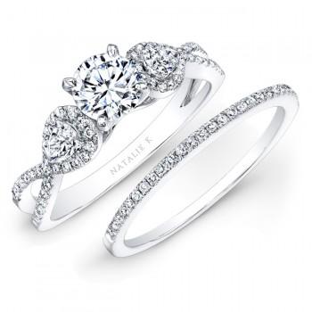 14k White Gold White Diamond Twisted Shank Bridal Set with Pear Shaped Side Stones