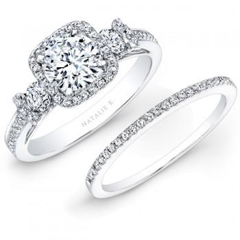18k White Gold Square Halo White Diamond Bridal Set