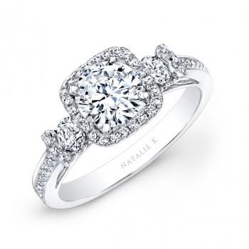 18k White Gold Square Halo White Diamond Engagement Ring