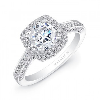 18k White Gold Thick Pave Halo Diamond Engagement Ring