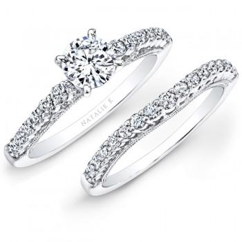 18k White Gold Prong Set White Diamond Bridal Set