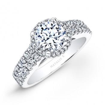 14k White Gold Prong Two Row Halo White Diamond Engagement Ring