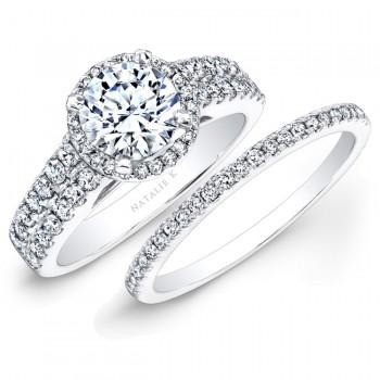 14k White Gold Prong Two Row Halo White Diamond Bridal Set